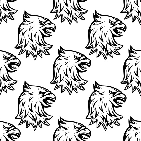 Seamless pattern with head of heraldic eagle on white background for medieval design
