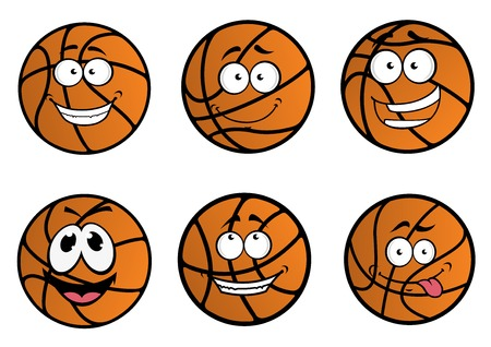 Cartooned basketball ball characters with funny faces and happy emotions isolated on white for sports design