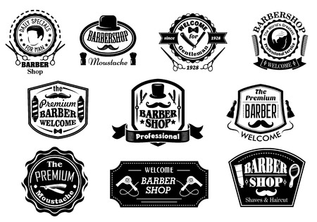 barber pole: Creative black and white barber shop labels on white background for hygiene and service design Illustration