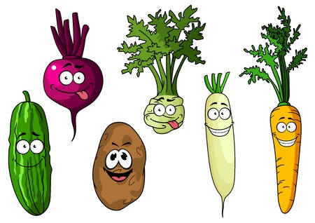 Cartoon fresh funny beetroot, potato, cucumber, carrot, kohlrabi and radish vegetables on white background Vector