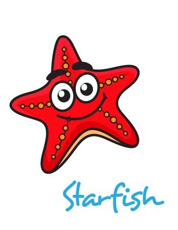 fish star: Cierre de cartooned estrella pez rojo con la cara feliz en el fondo blanco Vectores