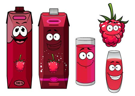 raspberry pink: Pink raspberry drinks and berry in cartoon style isolated on white