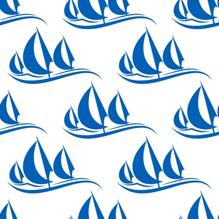 regatta: Blue yachts seamless pattern on white background for regatta or any yachting sports design Illustration