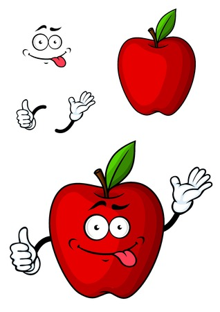 apple red: Cartooned red apple fruit character with funny face and hands