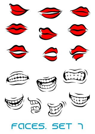 cartooned: Cartooned lips and mouth set isolated on white in cartoon style
