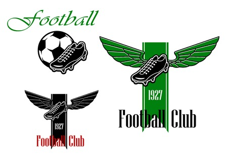 football boots: Black and green  football or soccer emblems with winged football boots, ribbon, text and ball Illustration