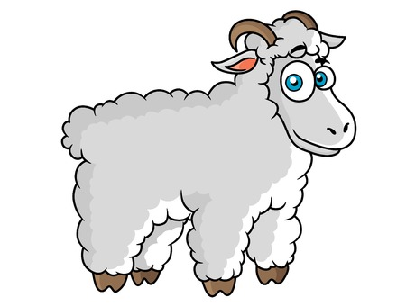 baa: Cartoon farm sheep character with big eyes on white background