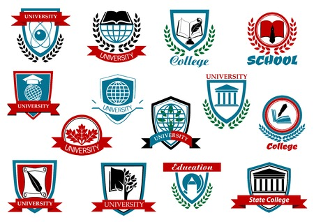 university building: School, university or college educational emblems and symbols with education elements