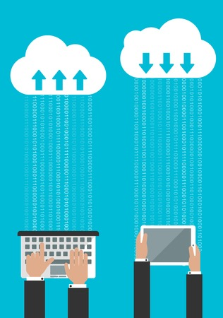 synchronizing: Sharing or synchronizing data in the cloud concept with man entering data on a laptop and of a second man receiving the data on a tablet Illustration
