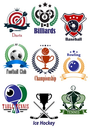 hockey games: Colored sports tournaments emblems set including dart, billiards, basketball, baseball, football or soccer, bowling, table tennis, tennis and ice hockey games