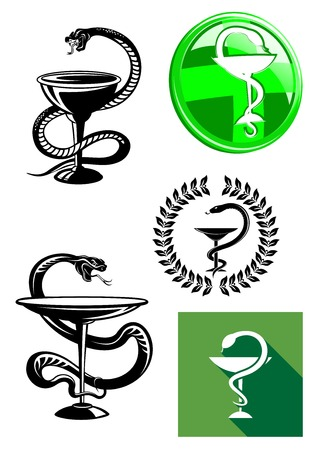 druggist: Set of pharmacy icons with medicine symbol of a cup or chalice with a snake twined around its stem and poised above it