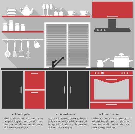 a kitchen: Flat infographic template for a kitchen interior design with a stylish red, grey and black kitchen with fitted cabinets and appliances Illustration