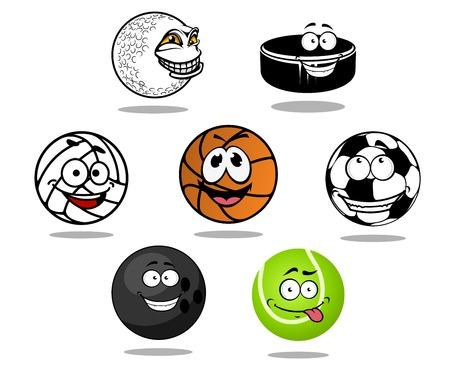 Cartoon game balls characters with soccer, golf, basketball, volleyball, bowling, tennis balls and hockey puck Vector