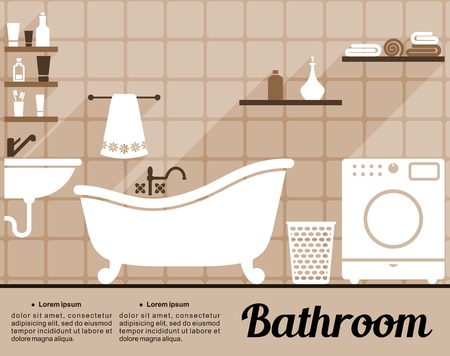 toiletries: Flat bathroom interior decorating infographic template with an old-fashioned freestanding bathtub, washing machine, hand basin and shelves of toiletries with editable text space Illustration