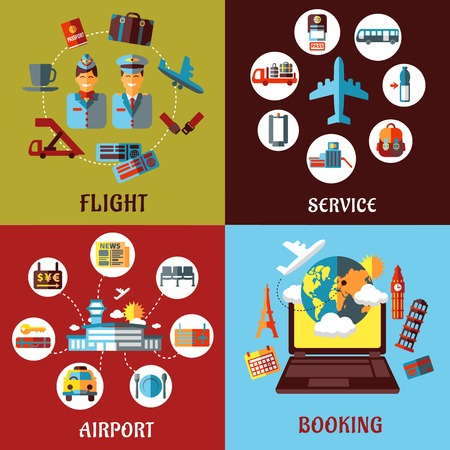 Aviation, airport and travel concept flat designs with many icons for tourism and transportation industry