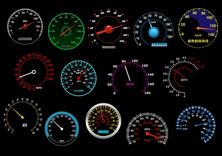 kilometer: Various glowing speedometers set on black background for racing, transportation or speed concept design