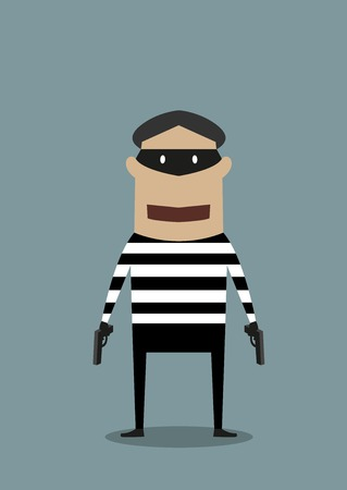 cartoon gangster: Cartoon character thief or robber wearing a mask and striped prison clothes and toting two handguns standing facing the viewer