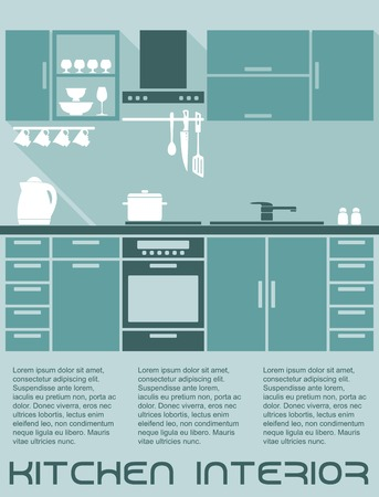 blue white kitchen: Kitchen flat interior design template in shades of blue with a fitted kitchen with cabinets and electrical appliances with editable text copyspace