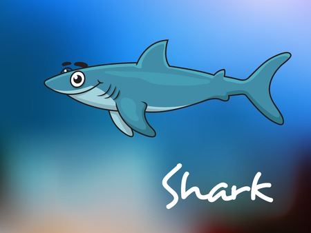 sealife: Cartoon blue shark character in sea water for sealife design Illustration
