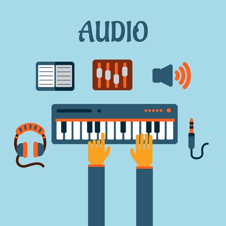 keyboard player: Sound recording flat concept with person playing an electronic keyboard with earphones, volume sliders, megaphone, tablet or MP3 player and a sound jack or plug