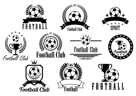 sport logo: Creative football or soccer black and white emblems, icons, symbols and logos with ball, trophy, cup, wreath, ribbon, banner