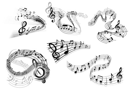 Swirling musical icons in black and white with flowing staves with clefs and musical notes in different patterns Illustration