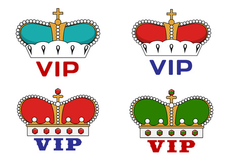 very important person sign: Crowns with Very Important Person sign for heraldic or luxury concept design
