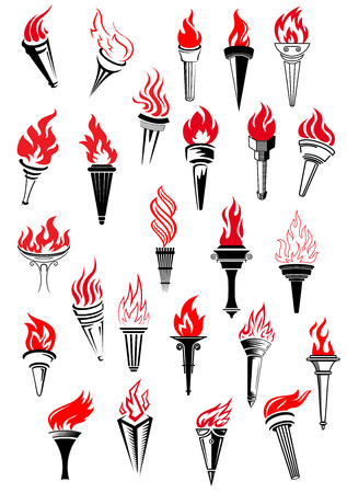 torch: Flaming torches in vintage style for peace, sport, heraldic and history design