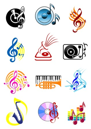 Colorful musical icons with music notes, speakers, gramophone records, saxophone, keyboard, trumpet and clefs with staves on white