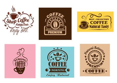 Creative coffee label graphic designs for cafe or restaurant menu design Illustration
