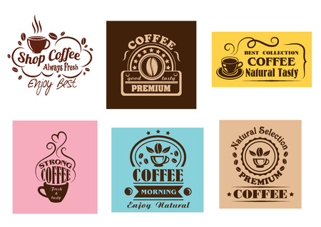 Creative coffee label graphic designs for cafe or restaurant menu design Vectores
