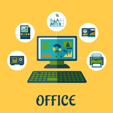pf: Business and office concept design with flat icons pf printer, report,  chart, graph, folder, laptop and safe box