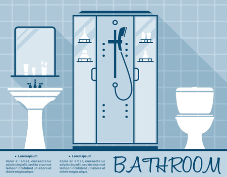 basin: Bathroom design infographic template in flat style in shades of blue of a bathroom interior with toilet, shower and hand basin over editable text space Illustration