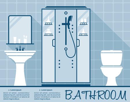 inodoro: Diseño de baño plantilla infografía en estilo plano en tonos de azul del interior de un baño con inodoro, ducha y lavabo en el espacio de texto editable Vectores