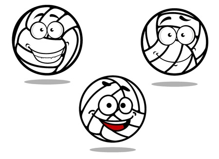 Cartoon volleyball balls characters on white background with happy faces
