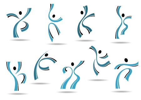 outspread: Set of stylized blue icons of dancing people and sportsmen jumping and leaping with outspread arms