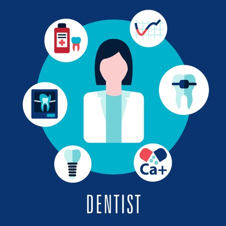 Dentist and dentistry concept with dentist surrounded by icons depicting caries, calcium, antibiotics, decay, repair, implant, and x-ray with the text  below Vector