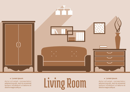 Living room interior flat inforaphic design in shades of brown with an table, sofa and side cabinet against a wall with frames over an editable text space below Vector