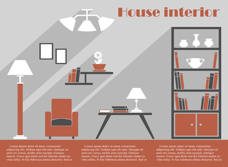 House interior design infographic template in grey and brown with a simple armchair, bookcase, standing lamp and table with lamp and books below wall fittings and lights with editable text space Vector