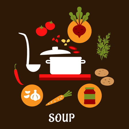 soup pot: Recipe of vegetarian soup with flat cooking pot and ladle surrounded by vegetables and spices