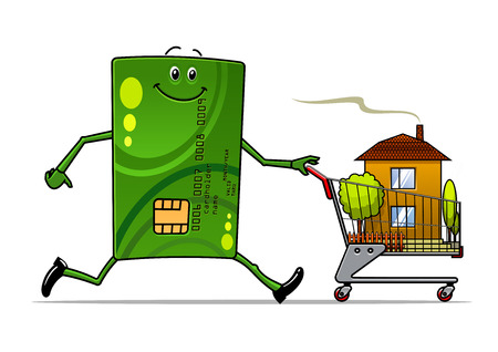Cartoon credit card pushing a shopping cart with house inside for real estate industry design Vector