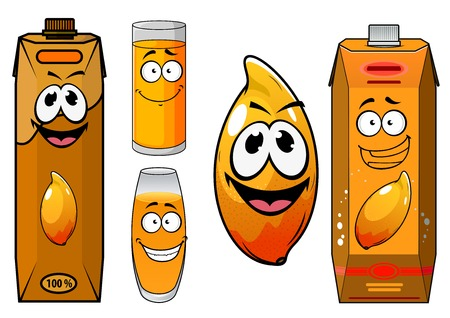 mango juice: Fresh mango juice cartoon characters with ripe glossy orange mango fruit, glasses and boxes of juice with funny faces for food pack design