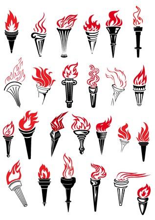 レッドホットと古代トーチ火災アウトライン スケッチ スタイル スポーツ競争または選手権の設計のための炎