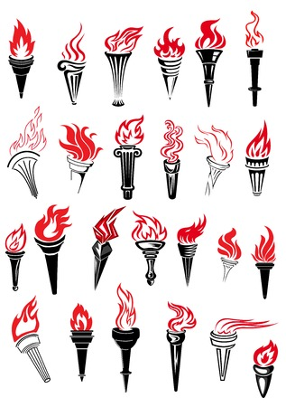 flame: Ancient torches with red hot fire flames in outline sketch style for sporting competition or championship design