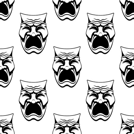 costume party: Seamless theater or masquerade masks background with dramatic crying face in doodle sketch style suitable for costume party or entertainment decoration design