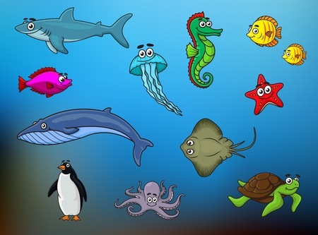 Cartoon cute fishes, sea turtle, jellyfish, octopus, whale, starfish, shark, seahorse, stingray, penguin on blue blurred background for underwater life education design Vector