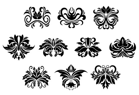 Black ornamental floral design elements with stylized flowers decorated bold leaves scrolls and curly tendrils isolated on white background