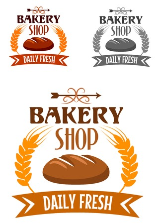 Bakery shop emblem or logo depicting fresh hot loaf of rye bread bordered golden wheat ears and ribbon banner with text Daily Fresh in different colors variations Illustration