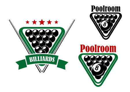 8 ball pool: Billiard or poolroom emblem with black balls and cues isolated on white