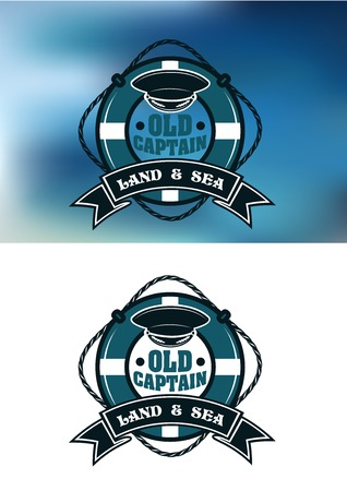 peaked: Vintage old captain emblem depicting captain peaked cap in the middle of lifebuoy with rope, ribbon banner and text Land and Sea on white and blue blurred
